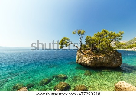 Stunning summer landscape with famous rocky island, Brela, Croatia, Europe