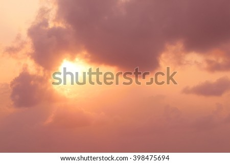 Stunning sunrise with fantastic sunbeam through the clouds. - stock photo