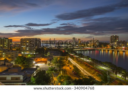 Stunning sunset in San Juan Bay, Puerto Rico.   - stock photo