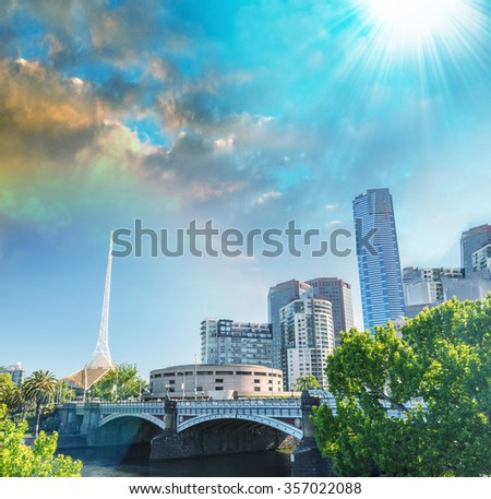 Stunning sunset over Melbourne - Victoria, Australia. - stock photo