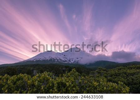 Stunning sunset view of mountain - stock photo