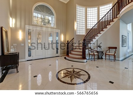 Stunning Two Story Entry Foyer Lots Stock Photo Royalty