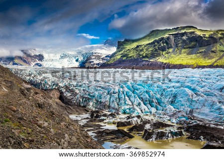 Stunning Vatnajokull glacier and mountains in Iceland - stock photo