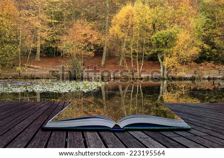 Stunning vibrant Autumn woodland reflected in still lake water landscape conceptual book image - stock photo