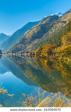 Stunning view in Jiuzhaigou national park, Sichuan Province, China. Beautiful lake with perfect reflection of snow covered mountains and colorful trees in autumn. - stock photo