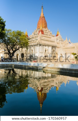 Stunning view of Ananda temple with reflection in Old Bagan, Mya