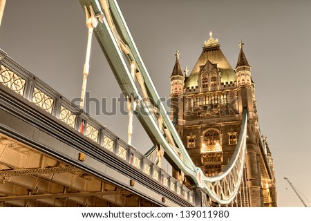 Stunning view of famous Tower Bridge in the evening - London. - stock photo