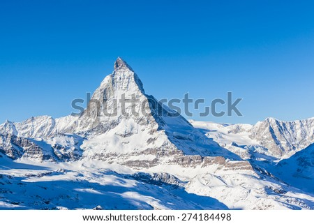 Stunning view of Matterhorn on a clear sunny day from Gornergrat train station - stock photo