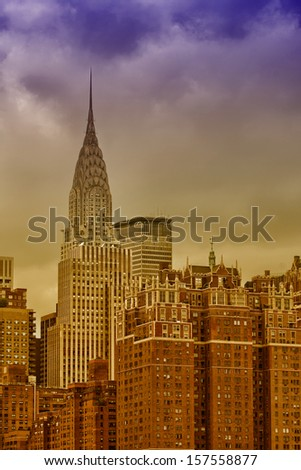Stunning view of New York Skyline. Group of tall Manhattan skyscrapers.