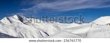 stunning view of skiing resort in Alps. Livigno, Italy