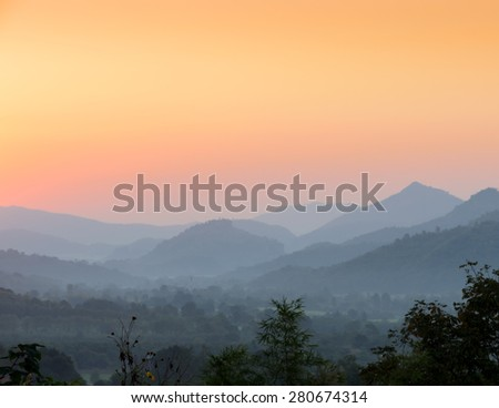 Stunning view of sunset over mountains in Thailand