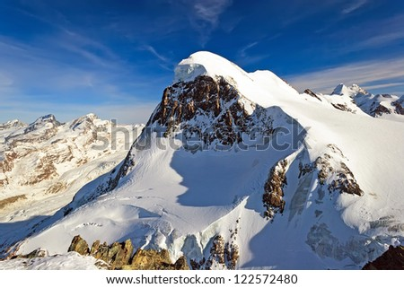 Stunning view of Swiss Alps from view point (el. 3883 m) next to Matterhorn mountain, Zermatt, Switzerland - stock photo