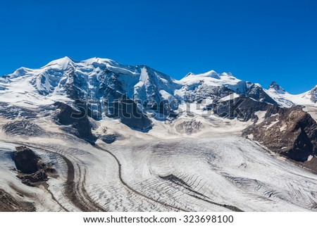 Stunning view of the Bernina massive and Morteratsch glacier at the mountain house of Diavolezza in Engadine area of Switzerland. - stock photo