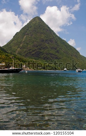 stunning view of the famous Pitons in Saint Lucia, Caribbean (over 700m high) - stock photo