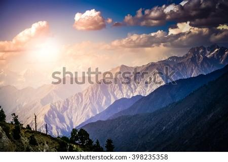 Stunning view of the Karakorum mountains range as seen from the Nanga Parbat base, Pakistan - stock photo