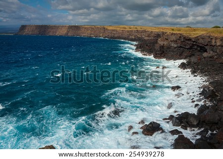 Stunning view of the ocean from the southernmost point of Hawaii and the United States, Big Island, Hawaii - stock photo