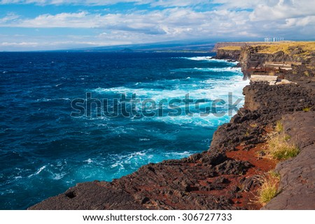 Stunning view of the ocean from the southernmost point of Hawaii and the United States, Big Island, Hawaii