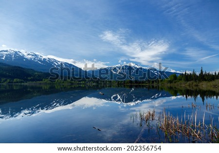 Stunning view on Blackcomb and Whistler mountain Canada - stock photo