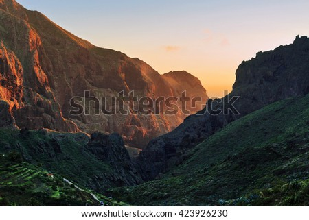 Stunning views of the sunset over the mountains. Tenerife, Canary Islands. Spain - stock photo