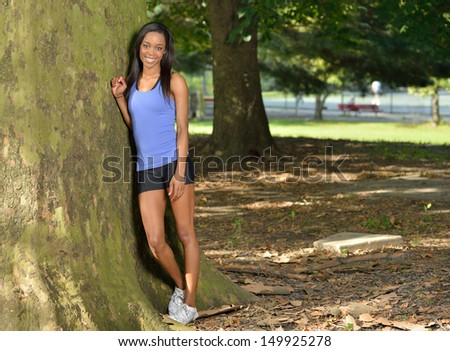 Stunning young African American woman ready for a morning run