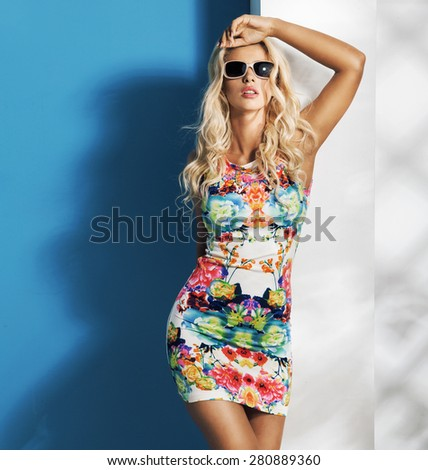 Stunning young blonde model posing - stock photo