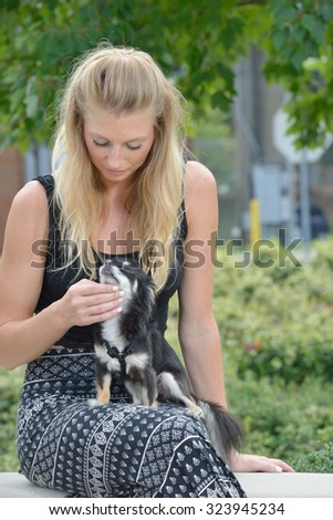 Stunning young blonde woman in a patterned long skirt and black top sits with her pet Chihuahua  - stock photo