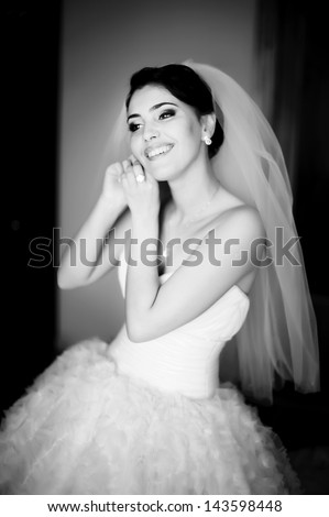 stunning,  young brunette bride, black and white picture - stock photo