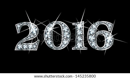 "Stunningly beautiful ""2016"" set in diamonds and silver. Raster copy. - stock photo"