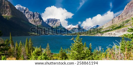Stunningly beautiful St. Mary Lake in Glacier National Park, Montana - stock photo