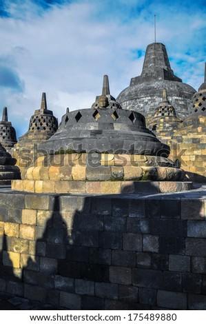 Stupa Borobudur in Yogjakarta in Java, indonesia - stock photo