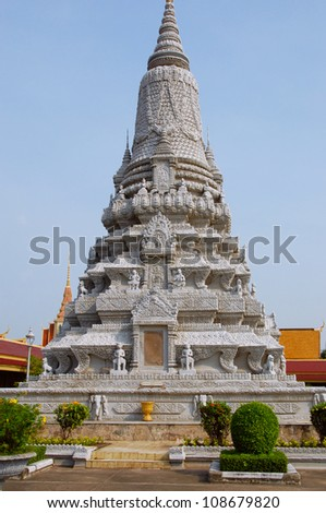 Stupa in Royal Palace in Phom Penh, Cambodia