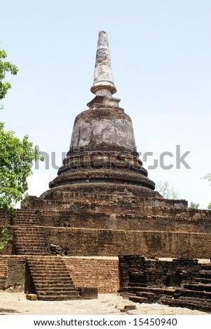 Stupa in wat Khao Suwankhiri in Si Satchanalai, central Thailand - stock photo