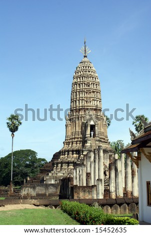 Stupa in wat Phra Si Ratana Mahaphat, Si Satchanalai, Thailand - stock photo