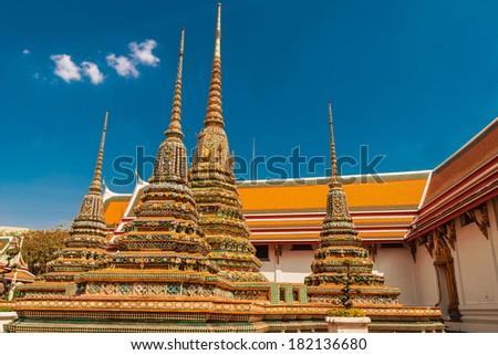 Stupa's at   Wat  Phra Kaew temple, Bangkok, Thailand. - stock photo