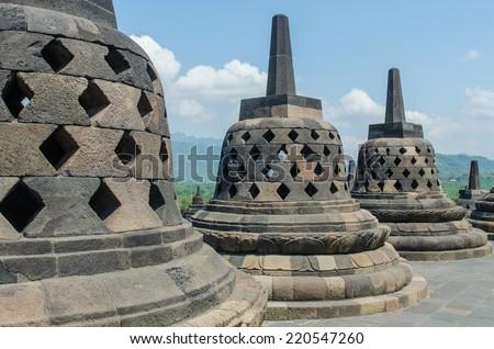 Stupa's in Borobudur temple - stock photo