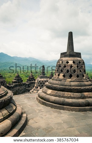 Stupas, or heap in Sanskrit, at the Borobudur buddhist temple, a UNESCO World Heritage site in Central Java, Indonesia.