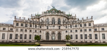 Stupinigi, Italy. Detail of the Palazzina di Stupinigi exterior, Royal residence since to 1946. - stock photo