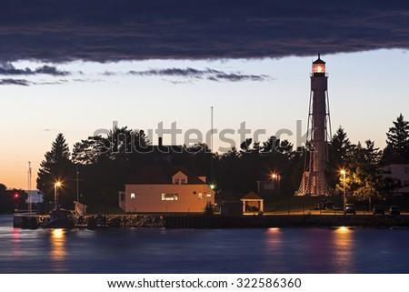Sturgeon Bay Ship Canal Lighthouse. Sturgeon Bay, Wisconsin, USA. - stock photo
