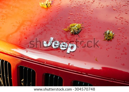 STUTTGART, GER - CIRCA 2015: Modern Jeep Motors car logotype after exploration adventure travel with moss plant on the car hood. It became the primary light 4-wheel-drive vehicle of the US Army  - stock photo