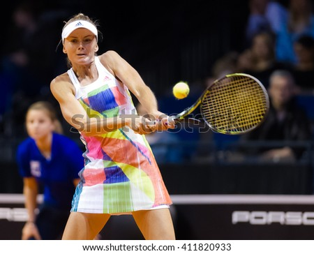 STUTTGART, GERMANY - APRIL 16, 2016: Daniela Hantuchova in action at the 2016 Porsche Tennis Grand Prix