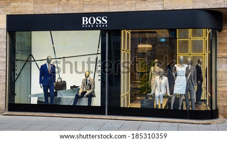 stuttgart germany april 01 2014 hugo stock photo 185310359 shutterstock. Black Bedroom Furniture Sets. Home Design Ideas