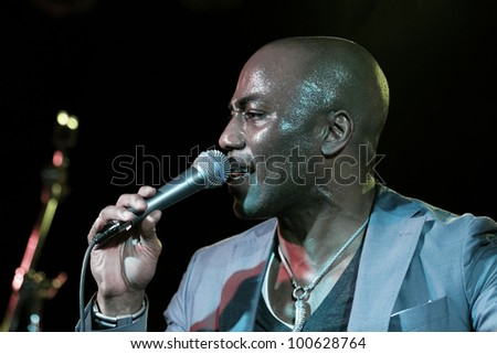"STUTTGART, GERMANY - APRIL 14: Musician ""Trevor Jackson"" live in concert on stage at the festival ""Night of Music"" April 14, 2012 in Stuttgart - stock photo"