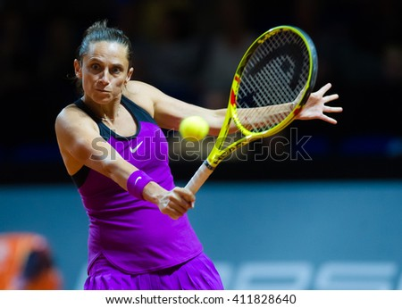 STUTTGART, GERMANY - APRIL 21, 2016: Roberta Vinci in action at the 2016 Porsche Tennis Grand Prix