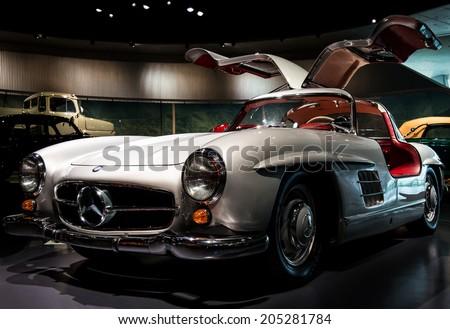 STUTTGART, GERMANY - APRIL 19, 2014: Vintage 1954 Mercedes-Benz 300SL on display at the Mercedes-Benz Museum. - stock photo