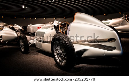 STUTTGART, GERMANY - APRIL 19, 2014: Vintage 1934 Mercedes-Benz W25 Silver Arrow Grand Prix car on display at the Mercedes-Benz Museum. - stock photo
