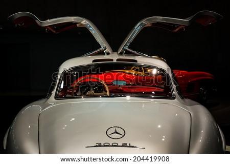 STUTTGART, GERMANY - APRIL 19, 2014: Vintage STUTTGART, GERMANY - APRIL 19, 2014: Vintage 1954 Mercedes-Benz 300SL on display at the Mercedes-Benz Museum.  - stock photo