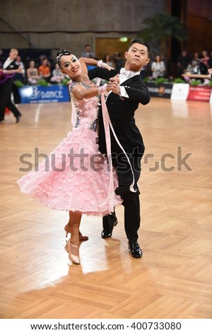 Stuttgart, Germany - August 16, 2015: An unidentified dance couple in a dance pose during Grand Slam Standart at German Open Championship, on August 16, in Stuttgart, Germany