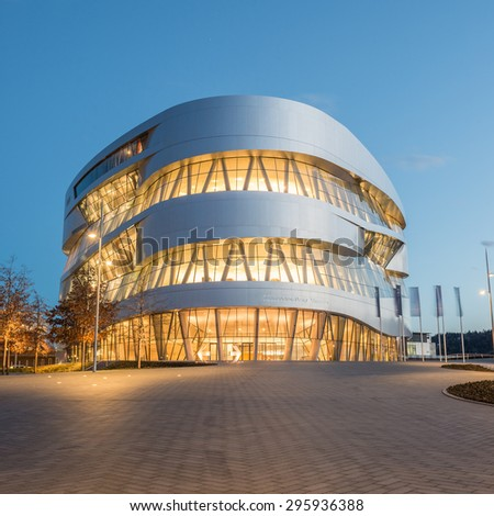 STUTTGART, GERMANY - February 20, 2014: Spectactular modern architectur and home of  Museum Mercedes-Benz Welt in Stuttgart, shot at  HDR Golden Hour.