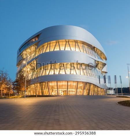 STUTTGART, GERMANY - February 20, 2014: Spectactular modern architectur and home of  Museum Mercedes-Benz Welt in Stuttgart, shot at  HDR Golden Hour. - stock photo