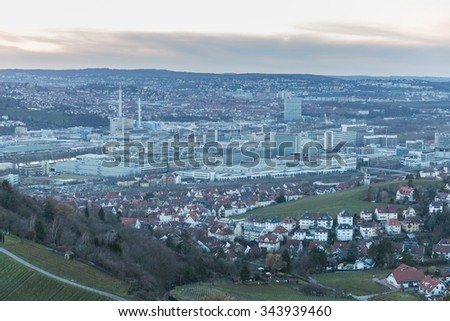 Stuttgart, Germany - February 12, 2014: View of Stuttgart, Untertuerkheim and the Mercedes Benz Factory. - stock photo
